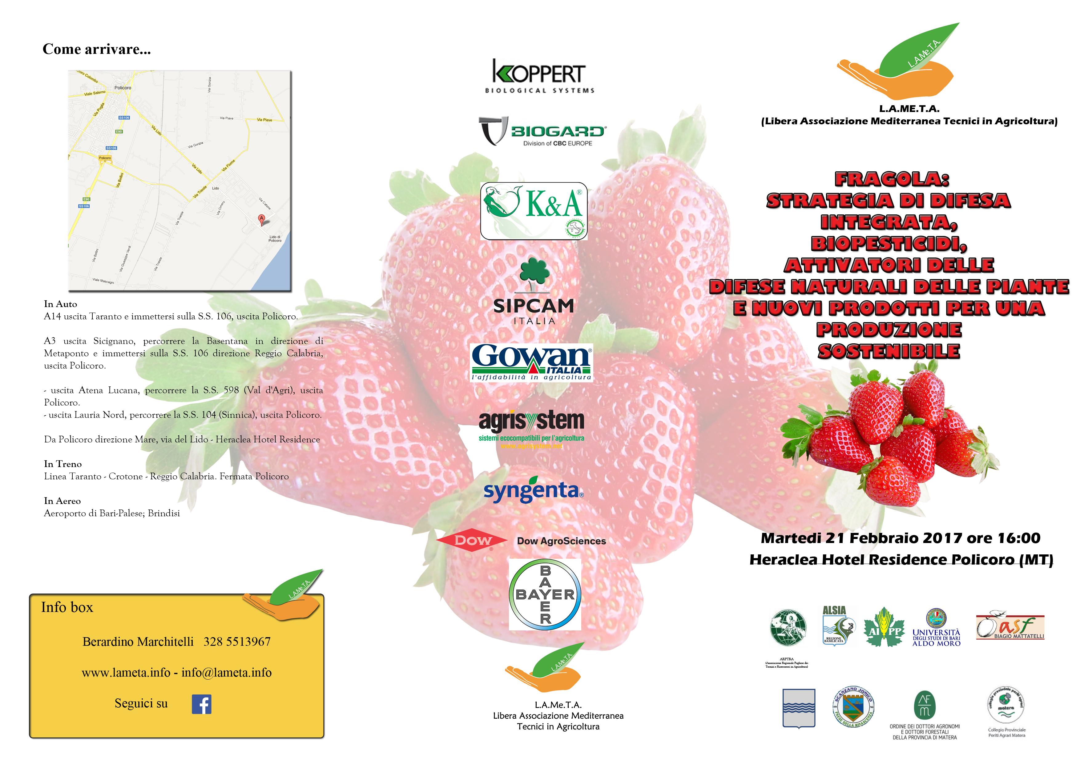 Convegno Lameta: Fragola: Strategia di difesa integrata, biopesticidi, attivatori delle difese naturali delle piante e nuovi prodotti per una produzione sostenibile.